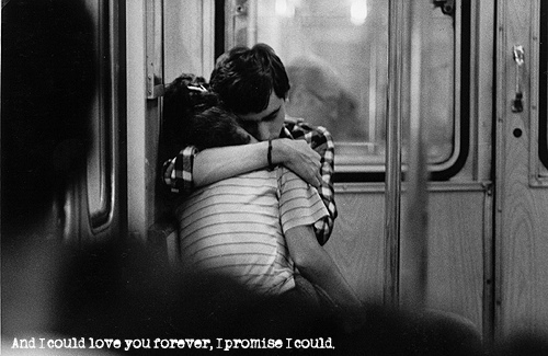couple, forever, hug, love, promise, quote, together, train