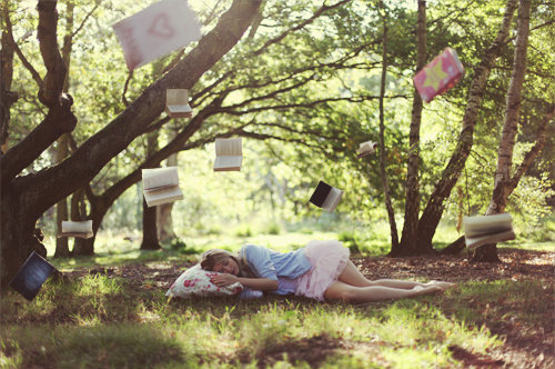 beautiful, books, flying, forest, girl, grass