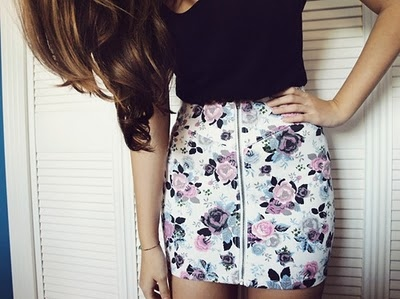 beautiful, flowers, girl, hair, half-body, skirt