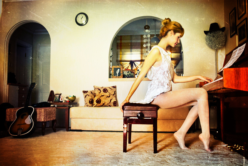 beauty, girl, guitar, music, piano, room