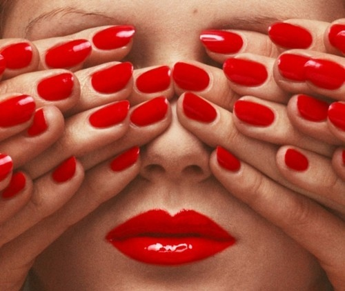 face, fashion, fingers, guy bourdin, hands, lips