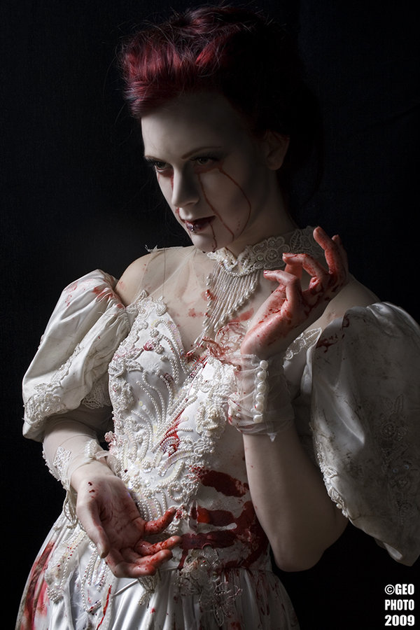 *acidicdivinity, beauty, blood, bride, dark, deviant art, deviantart, dress, funny games, girl, macabre, marriage, piercing, wedding, white dress, zombie