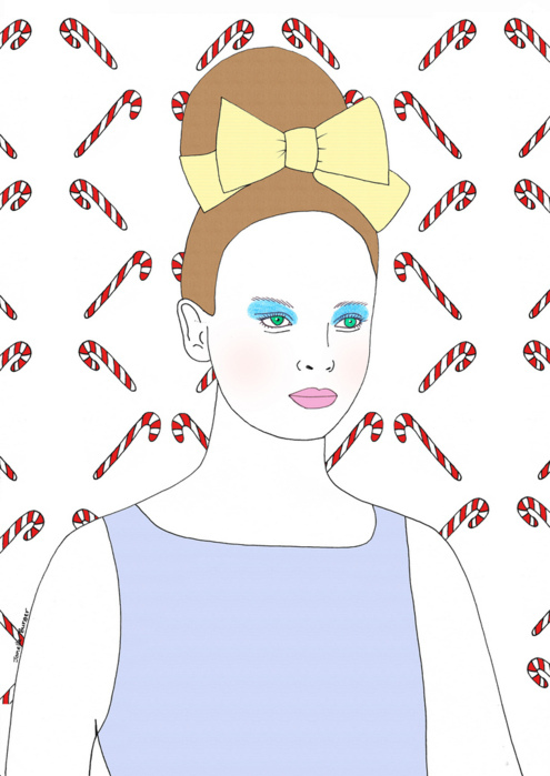 bow, candy cane, christmas, cute, fashion, fashion illustration