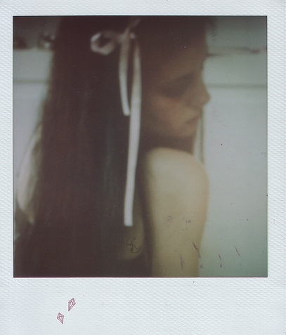 bow, girl, long hair, pink, pola, polaroid