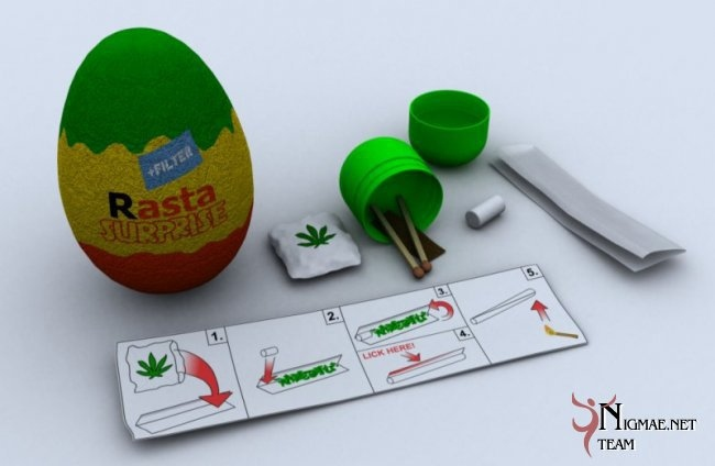 cannabis, egg, kinder, rasta, surprise, weed