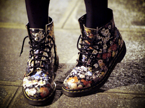 awesome, black, cute, doc marten, doc martens, fashion, floral, pretty, shoes, style, tights