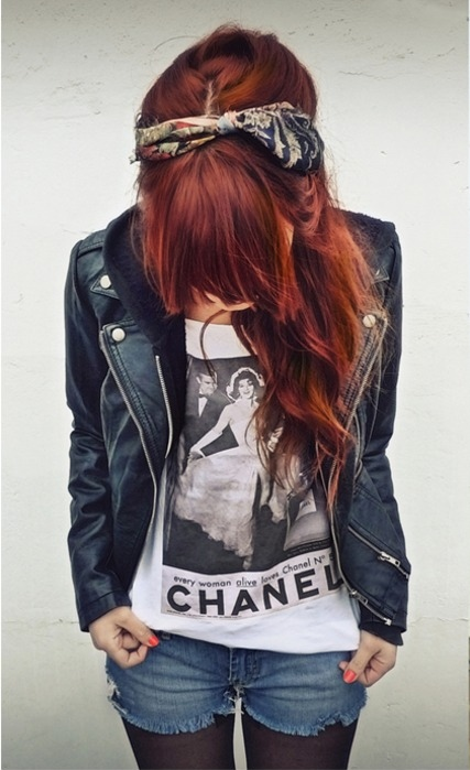 bandana, chanel, fashion, girl, red hair, style