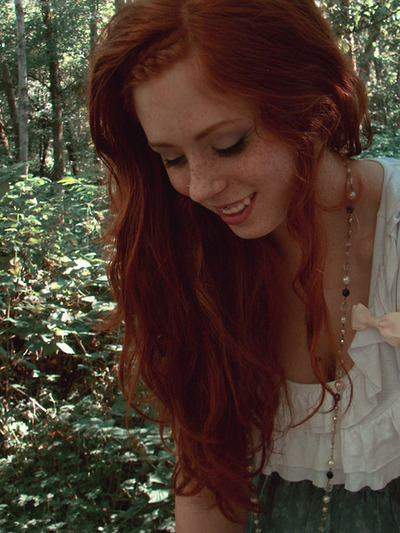 auburn, forest, freckles, ginger, green, long hair
