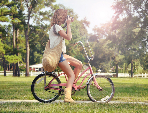bike, blond, camera, cute, girl, photography, pink bike, summer