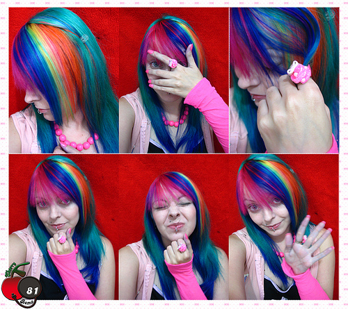 awesome, awesome hair, colorful, emo, eww, familia restart, hair, horrorshow, piercing, rainbow, rainbow hair, restart, scene