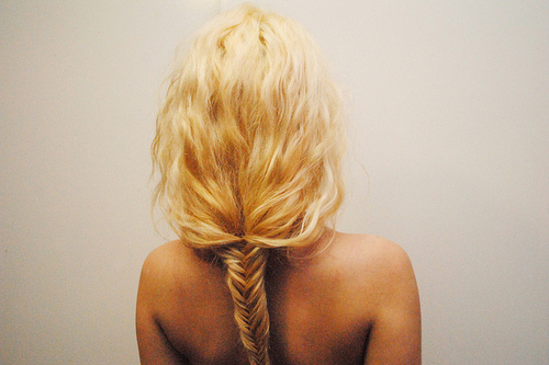 bleached, blonde, braid, briad, fishtail