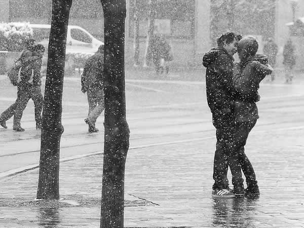 boy, city, couple, first snow, girl