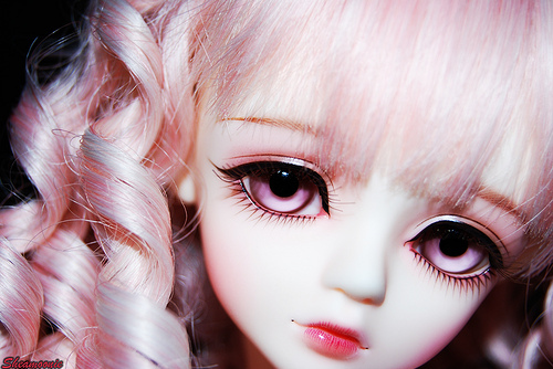 abjd, bjd, doll, face, girl, pale, pink, pink hair, pretty, purple eyes, white hair