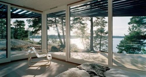 architecture, fur, glass, house, interior, room, sun, tree, water, wood