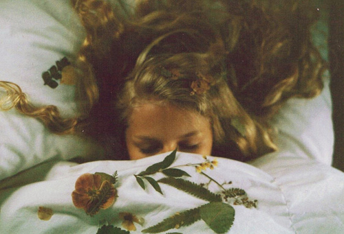 bed, blanket, blonde, floral, flowers