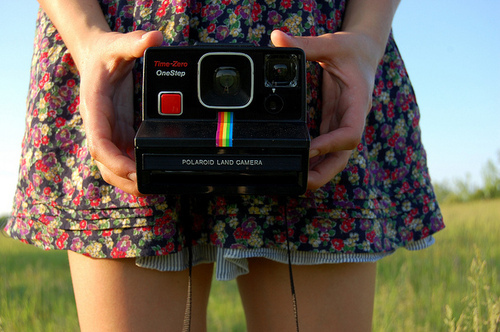dress, fashion, floral, girl, polaroid camera