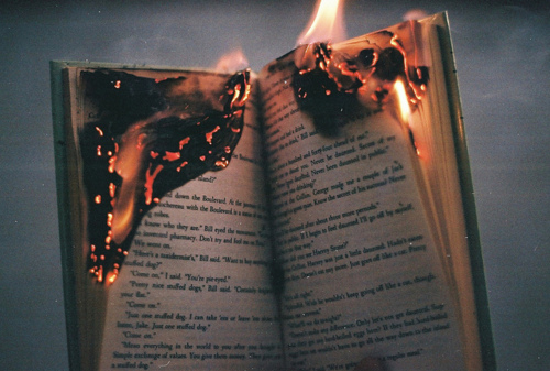 beautiful, book on fire, books, burning, fire
