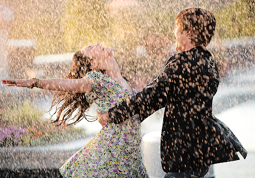 couple, cute, high school musical, love, rain