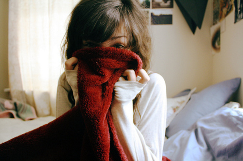 bed, blanket, cute, fashion, girl, hair, photography, pretty, red, winter