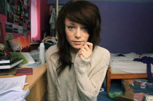 blue eyes, brown hair, cute, girl, jumper