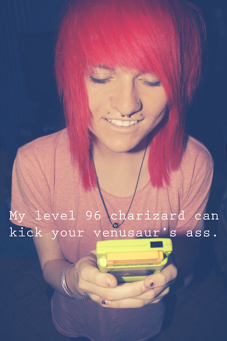 boy, charizard, cute, emo, emo boy, gameboy, mitch misegadis, piercings, pokemon, red hair, scene, scene boy, septum, smile, venusaur, First Set on Favim.com