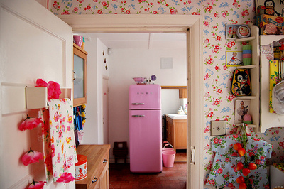 adorable, barbie, cute, floral, girly, kitchen, pink, vintage, wallpaper