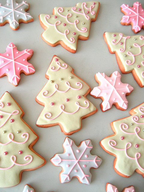 adorable, christmas, christmas tree, cookies, delicious, pink, trees, white