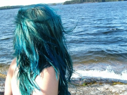 alternative, blue, dye, girl, hair
