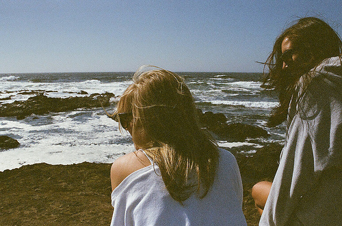 beach, blonde, brunette, friends, nature, sea, sky, vintage, wind