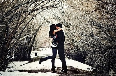 boy, couple, cute, girl, kiss, love, snow