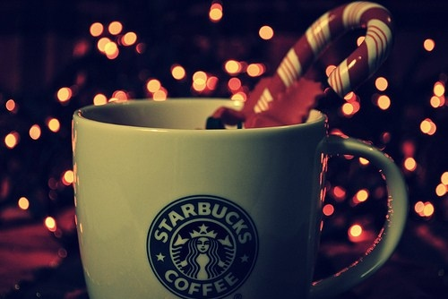 candy cane, candycane, christmas, coffee, drink, food, holiday, lights, photgraphy, starbucks, tree