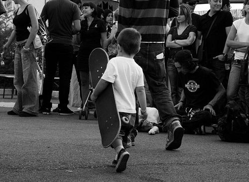 b&w, black and white, boy, child, cute, from small, skate, skateboarding, skater, skating
