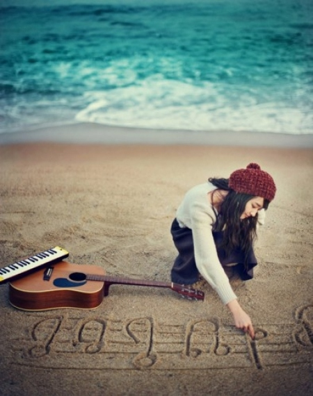 beach, beanie, guitar, music, ocean