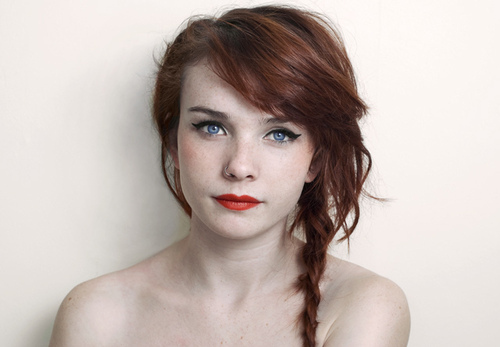 beautiful, eyeliner, fair, ginger, girl