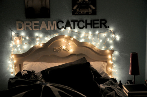 bed, dream, dream catcher, dreams, lights, photography, pretty