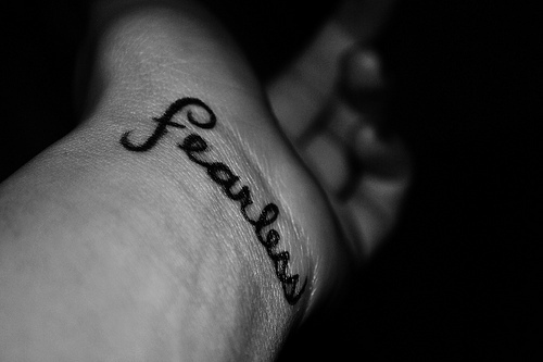 b&amp;w, black and white, fearless, tattoo