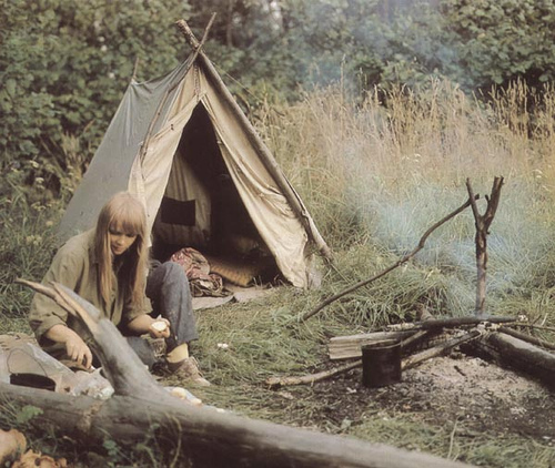 camp, camping, girl, gras, log, nature, smoke, teepee, trees