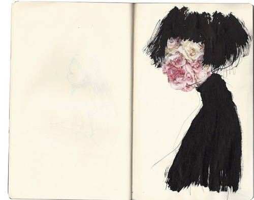 black, book, dying dying dead, flower, girl, paint