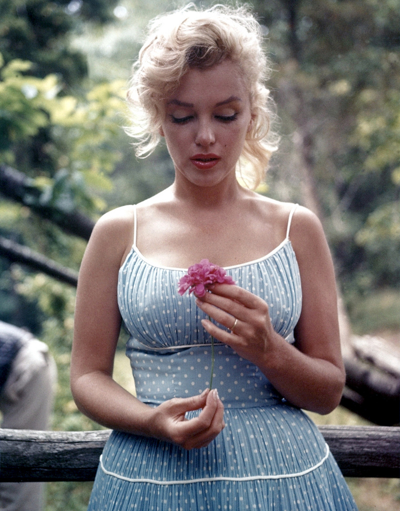 blonde, dress, flower, marilyn, marilyn monroe