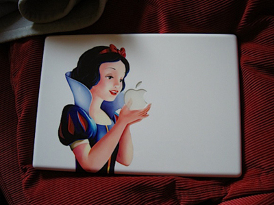 apple, bow, computer, disney, laptop, macbook, nerd, snow white, sticker