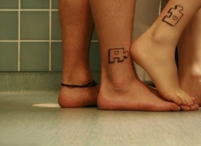anklet, feet, love, puzzle, small tattoo, tattoo