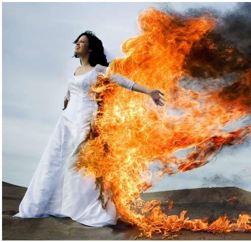 bride, dress, fake, fire, flames