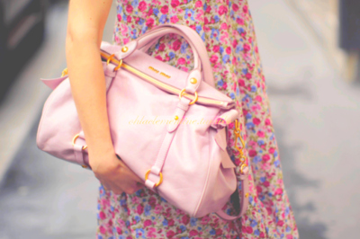 dress, fashion, floral, miu miu purse, mui mui, outfit, pink, prada, purse