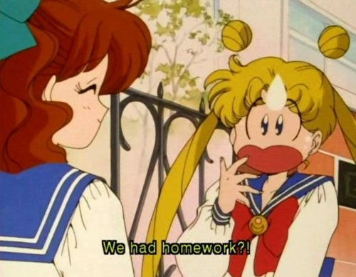 cute, homework, mini, sailor moon