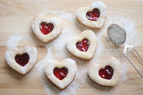 biscuit, biscuits, cute, food, heart, jam, linzer cookies, red, sugar, yum