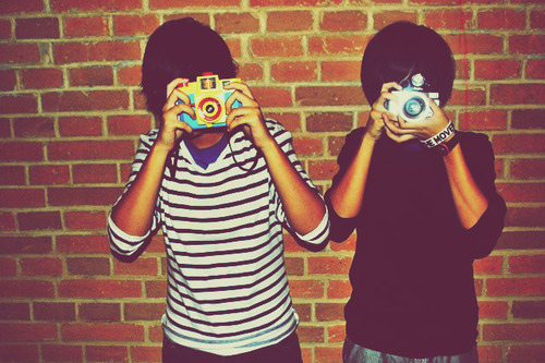 boys, brick wall, cameras, fashion, lomography, style, wall