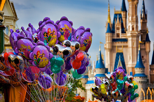 balloons, castle, cute, disney, disneyland