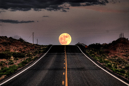 beautiful, leading lines, moon, photography, road