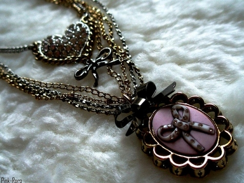 black, bow, girly, heart, necklace, pretty, purple, vintage