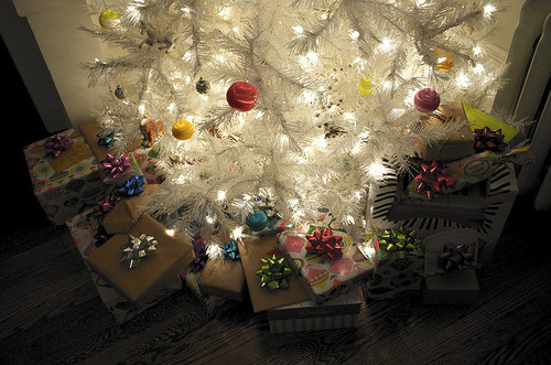 christmas, presents, tree, white